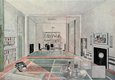 Interior design with sporting motifs by Paul Nash for a competition for Lord Benbow's apartment, published in 'The Architectural Review', November 1930