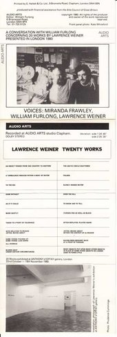 Audio Arts: Lawrence Weiner, concerning twenty works