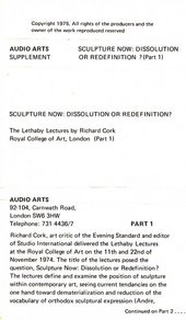 Audio Arts: Richard Cork, Lethaby Lectures