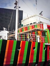 Carlos Cruz-Diez's dazzle ship is unveiled at Liverpool dock