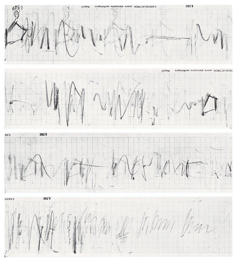 Fig.8 Film ancora dal Diagramma Terremoto di Mario Franco (Joseph Beuys, Napoli 1981) 1997, che mostra i dettagli del Diagramma Terremoto a Napoli, 1981 © Mario Franco
