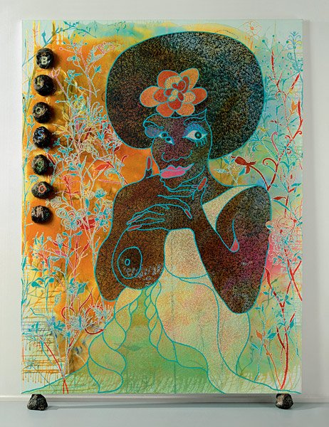 Chris Oflili Blossom 1997 painting of a black female figure with one breast exposed