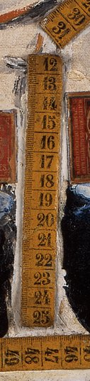 Detail of The Tape Measures 1923–5 showing central tape measure fragment