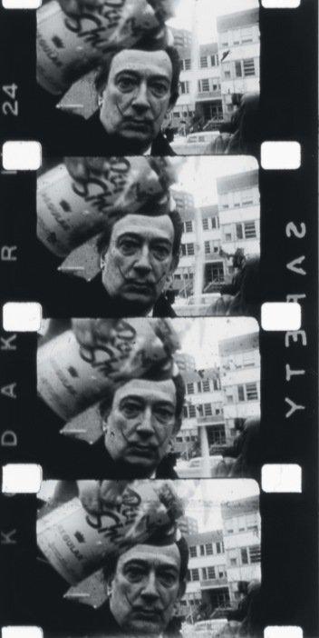Film stills of Salvador Dalí spraying foam in a happening filmed by Peter Beard 1964 Courtesy Benn Northover, Jonas Mekas