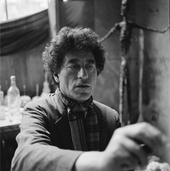 Giacometti painting in his studio, ca. 1954