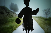 film still by joan jonas of a womans silhouette
