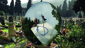 man standing in graveyard painting a circle