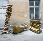 Series of Franz West sculptures featuring stacked items covered in papier mache