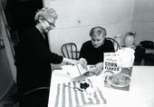 Black and white photograph of Warhol and his mother