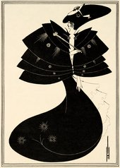 illustration in art deco style of a woman in a long black cape