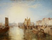 Painting of a view looking down a harbour wall with wooden sailing boats and buildings on the right. The scene become hazier in the distance. A bright sun fills much of the sky and is reflected in the water.