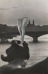 Collage using black and white photograph of a large hand holding a pair of human legs overlaid onto a photograph of the River Seine