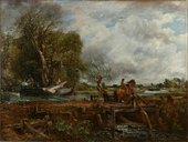 Painting of a river scene, with a rider jumping a brown horse on the near bank. A barge with figures appears on the left, with trees behind; on the right, the river runs into the distance.