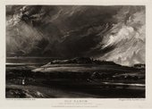 A black and white print of a dark landscape with a hill in the centre on which sit the jagged shapes of ruined walls and buildings, with a stormy sky of swirling clouds and rain above and a figure walking in the left foreground.