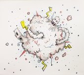an abstract drawing of a cloud-like figure