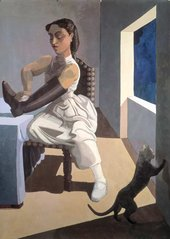 A figurative painting by Paula Rego of a woman polishing a large black boot with a cat in the far right corner