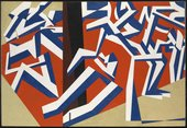 Abstract painting in which figures made of white and blue shapes crowd around a central pole. The pole sits in a red rectangle implying a finite space, the outside of which is painted beige.
