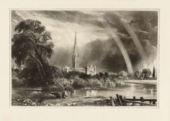 A black and white print showing a water meadow, with large trees on the left, a figure in the centre-left foreground, and a cathedral in the distance framed by clouds and a large double rainbow.