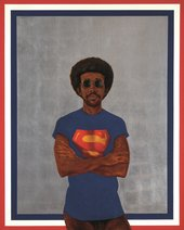 Barkley L. Hendricks Icon for My Man Superman (Superman Never Saved any Black People – Bobby Seale) 1969 Collection of Liz and Eric Lefkofsky © Estate of Barkley L. Hendricks. Courtesy of Jack Shainman Gallery, New York. Superman S-Shield © & ™ DC Comics.