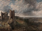 Painting with a ruined castle on a rocky outcrop next to a dark sea. A man and a dog stand on the outcrop in the foreground on the left. The sky is filled with clouds.