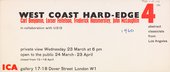 Invitation to the private view of West Coast Hard-Edge: Four Abstract Classicists, Institute of Contemporary Arts, London, 1960