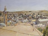 A detailed, light-coloured painting of a city with steeples and rooftops of different shapes sizes and colours. In the foreground are fields and in the distance hills.