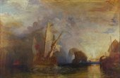 Painting of a ship with oars leaving a bay with standing rocks. Golden light comes from a setting sun on the right of the painting, while much of the rest is in bluish shadow. The head of the cyclops is just visible in the distance above the ship.