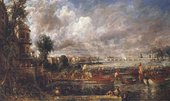 Painting of a scene on the river Thames on a bright day, with boats carrying red and white flags. Figures are lined up beneath a building on the left hand side of the painting.
