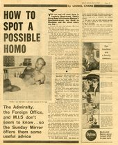 Newspaper article with headline 'How to Spot a Possible Homo'