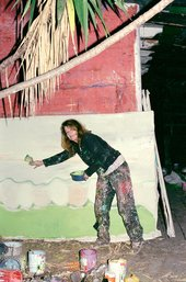 Vivian Suter painting at night outside one of her studios in Panajachel, Guatemala