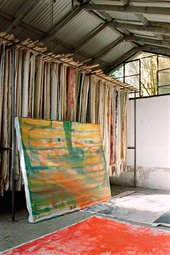 Photograph of storage and working spaces in the two studios that Vivian Suter has built