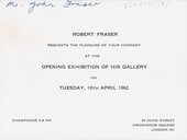 Invitation to the opening of the Robert Fraser Gallery on 10 April 1962