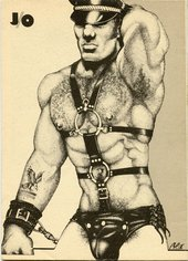 Drawing of man posing in leather gear