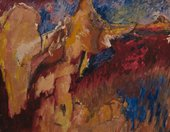 An apparently abstract painting with areas of earth tones reminiscent of rocky hills, as well as areas of bright red and blue in thick, energetic brushstrokes.