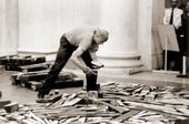 Richard Long assembling his solo exhibition at the Tate Gallery following his Turner Prize 1989 award