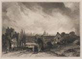 A black and white print of a street scene, with a road in the centre, buildings either side of it, trees and bushes on the right and a domed building and church spires in the distance.