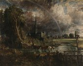 A dark painting of a cathedral with a stream and trees in the foreground and a rainbow arcing over the building.