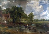 A painting of three horses pulling a large wooden cart across a shallow curve of a river towards a cottage on the left. Trees rise behind the cottage, and the sky above them changes from grey cloud on the left to blue on the right.