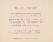 Invitation to the private view of the exhibition American Painting from the Eighteenth Century to the Present Day, Tate Gallery, London 1946