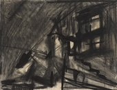 An almost abstract, dark grey charcoal drawing of a building with windows and perhaps stairs outside. A large area on the left, perhaps the sky, appears to have been smeared to be a uniform tone.