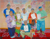 Aliza Nisenbaum Wise Elders Portraiture Class at Centro Tyrone Guzman with En Familia hay Fuerza, mural on the history of immigrant farm labor to the United States 2017 © Aliza Nisenbaum. Courtesy the artist and Minneapolis Institute of Art, Minneapolis,
