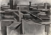A charcoal drawing of an abstracted skyline where the rooftops are made up of shapes or simple marks in different tones of grey.