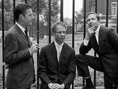 John Cage, Merce Cunningham and Robert Rauschenberg (left to right), London1964