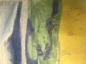 a painting of a countryside landscape