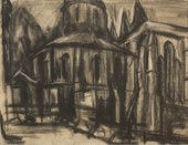 A charcoal drawing of part of a church rendered in thick, soft, scrubbed lines, with areas of apparent smudging and shading.