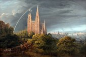 A painting with a sunlit cathedral in front of a city. The cathedral stands on a leafy hill and beneath a rainbow. A crowd process towards it in the foreground.