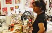 Photograph of Chila Kumari Singh Burman in her studio
