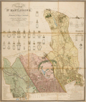 A map of an urban area divided into three distinct coloured sections, accompanied by diagrams of churches and other buildings, and the map's title and description written in the top left corner.