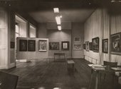 Installation view of the exhibition Symbolic Realism in American Painting 1940–1950 at the Institute for Contemporary Arts, London, 1950