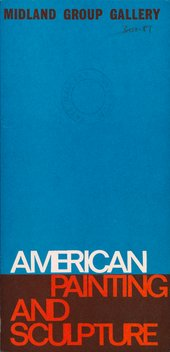 Cover of American Painting and Sculpture, exhibition catalogue, Midland Group Gallery, Nottingham 1966